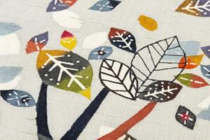 佐藤百恵作 型絵染紬名古屋帯地「落葉」のサブ3画像
