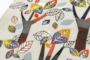 佐藤百恵作 型絵染紬名古屋帯地「落葉」のサブ2画像