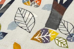 佐藤百恵作 型絵染紬名古屋帯地「落葉」のサブ4画像