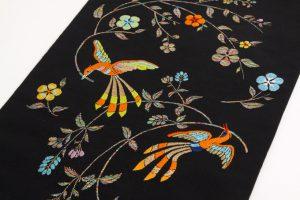 龍村美術織物製 たつむら 袋帯地「花喰舞鳥文」 のサブ1画像