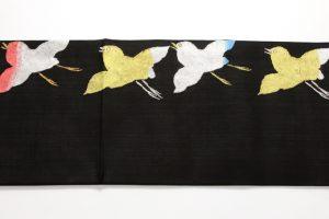 志ま亀謹製 紗錦黒地丸帯 波千鳥のサブ3画像