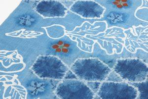 鈴木紀絵作 型絵染紬名古屋帯地「蔬菜」のサブ2画像