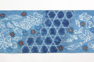 鈴木紀絵作 型絵染紬名古屋帯地 「蔬菜」のサブ3画像