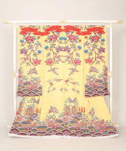 城間栄順作 琉球紅型振袖地のメイン画像