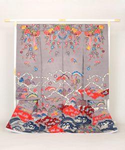 城間栄順作 琉球紅型振袖のメイン画像