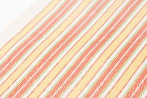 柳 崇作 綾織縞九寸帯 「白地太縞甲比丹裂」のサブ2画像
