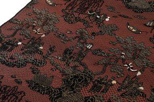 龍村平蔵製 丸帯 「地紅堆黒仙遊園文錦」のサブ2画像