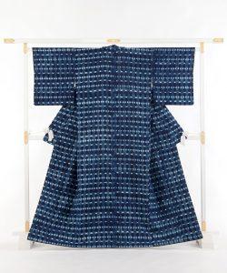 新道弘之作 藍染紬着物のメイン画像