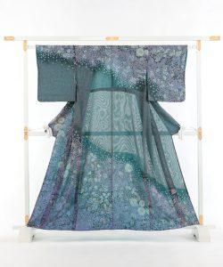 初代久保田一竹作 紗合わせ訪問着「紫幻花」のメイン画像