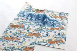 鈴木紀絵作 型絵染紙布訪問着地 「里風景」のサブ1画像