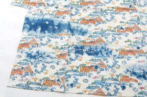 鈴木紀絵作 型絵染紙布訪問着地 「里風景」のサブ2画像