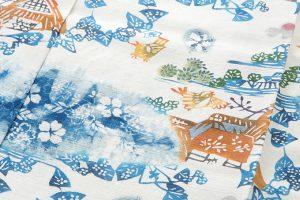 鈴木紀絵作 型絵染紙布訪問着地 「里風景」のサブ3画像