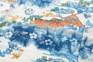 鈴木紀絵作 型絵染紙布訪問着地 「里風景」のサブ4画像