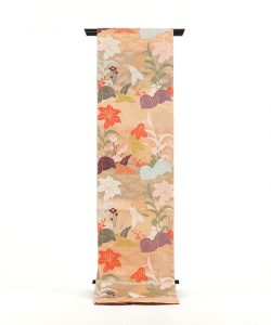山口織物製 唐織袋帯地 「百合水草文」のメイン画像