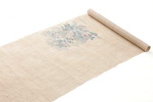 麻地友禅刺繍丸帯地「山水図」のサブ1画像