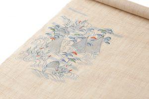 麻地友禅刺繍丸帯地「山水図」のサブ2画像