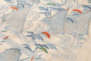 麻地友禅刺繍丸帯地「山水図」のサブ3画像
