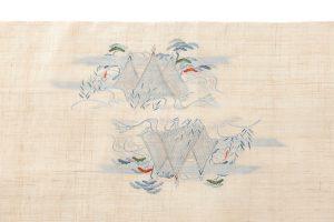 麻地友禅刺繍丸帯地「山水図」のサブ4画像