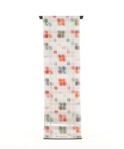 谷田部郁子作 紬名古屋帯地 「霜月の草紅葉」のメイン画像