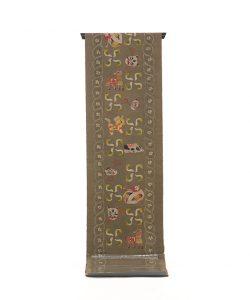 鈴木紀絵作 型絵染紬地九寸名古屋帯「縄目絞りに玩具箱」のメイン画像