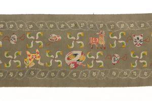 鈴木紀絵作 型絵染紬地九寸名古屋帯「縄目絞りに玩具箱」のサブ4画像