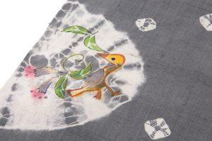 鈴木紀絵作 型絵染紬地名古屋帯地「花喰鳥模様」のサブ2画像