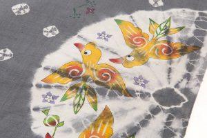鈴木紀絵作 型絵染紬地名古屋帯地「花喰鳥模様」のサブ3画像