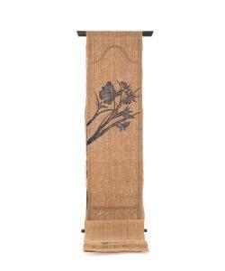 人間国宝 玉那覇有公作 本紅型藍染科布名古屋帯地 「月下美人」のメイン画像