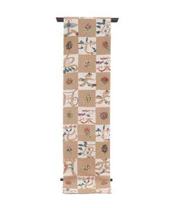鈴木紀絵作 型絵染縮緬九寸名古屋帯のメイン画像