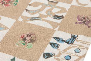 鈴木紀絵作 型絵染縮緬九寸名古屋帯のサブ2画像