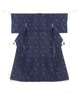 秋山眞和作 藍染め花織綾の手紬のメイン画像