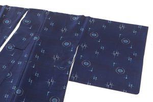 秋山眞和作 藍染め花織綾の手紬のサブ1画像