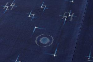 秋山眞和作 藍染め花織綾の手紬のサブ4画像