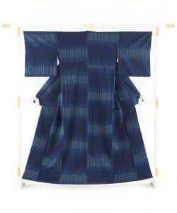 秋山眞和作 藍染綾の手花織紬のメイン画像