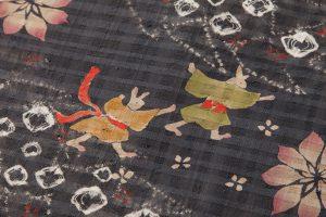 鈴木紀絵作 型絵染紬地九寸名古屋帯のサブ2画像