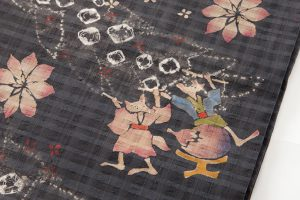 鈴木紀絵作 型絵染紬地九寸名古屋帯のサブ3画像