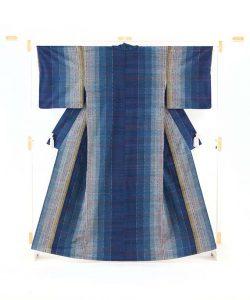 平山八重子作 紬織着物「藍の調べ」のメイン画像