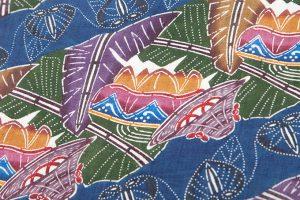 人間国宝 玉那覇有公作 越後上布地琉球紅型名古屋帯地のサブ3画像