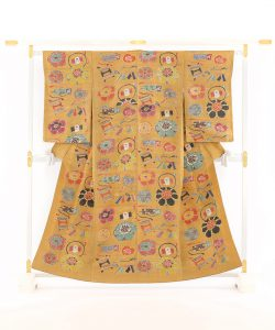 添田敏子作 型絵染紬着物と帯のメイン画像