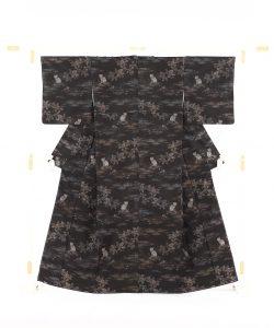 大島紬着物 猫模様のメイン画像