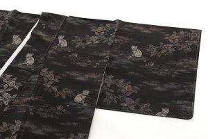 大島紬着物 猫模様のサブ1画像