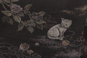 大島紬着物 猫模様のサブ4画像