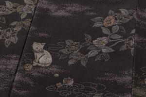 大島紬着物 猫模様のサブ5画像