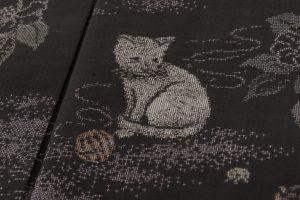 大島紬着物 猫模様のサブ6画像