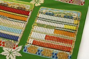 龍村平蔵製 袋帯「威毛錦緑色」のサブ3画像
