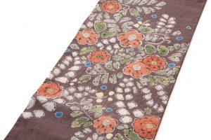 結城紬地 辻が花模様袋帯のサブ1画像