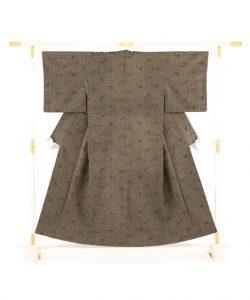 藍田正雄作 柿渋染紬地江戸小紋「笹に雀」のメイン画像