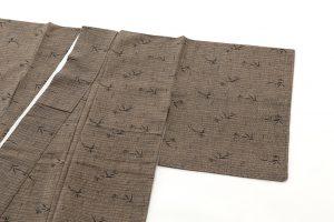 藍田正雄作 柿渋染紬地江戸小紋「笹に雀」のサブ1画像