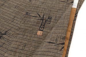 藍田正雄作 柿渋染紬地江戸小紋「笹に雀」のサブ7画像