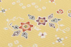岡本隆志作 型絵染名古屋帯地 「扇・牡丹・蝶ちらし文」のサブ2画像